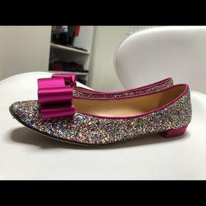 Kate Spade Glitz Rainbow Glitter Bow Flats